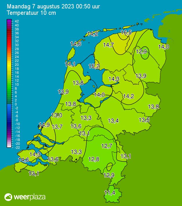 Actuele temperatuur kaart 10 cm hoogte