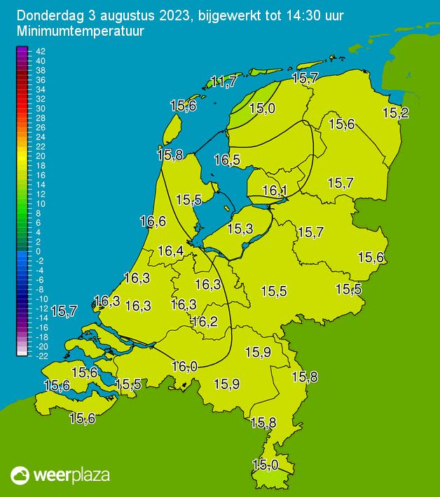 Minimale temperatuur kaart
