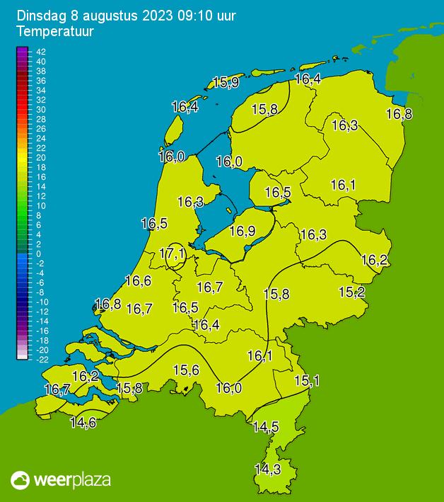 Temperatuurkaart WeerPlaza