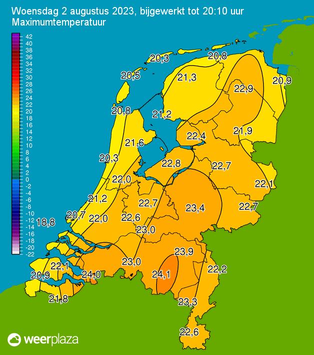 Maximale temperatuur kaart