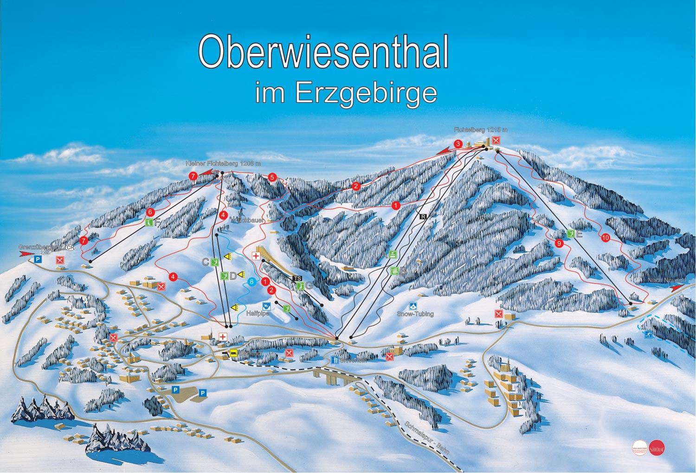 Wintersport skigebied Fichtelberg im Erzgebirge in ...