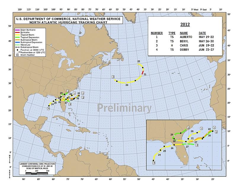 De eerdere vier stormen van 2012