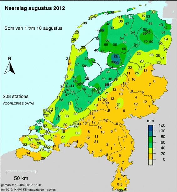 Totale hoeveelheid regen van 1 tot 10 augustus (bron KNMI)