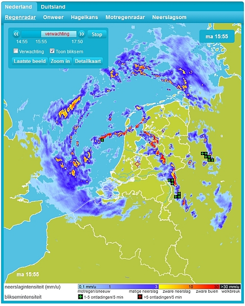 De regenradar van Weerplaza: overzichtelijk en informatief