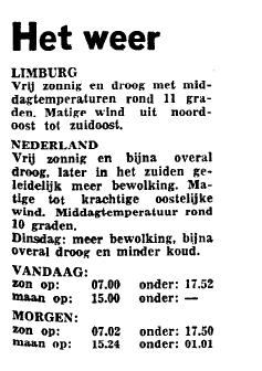 Het weerbericht in het Limburgs Dagblad van 13 oktober 1975