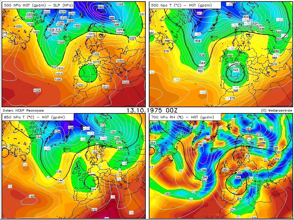 Voor de weerkenner: de weerkaarten van 13 oktober.