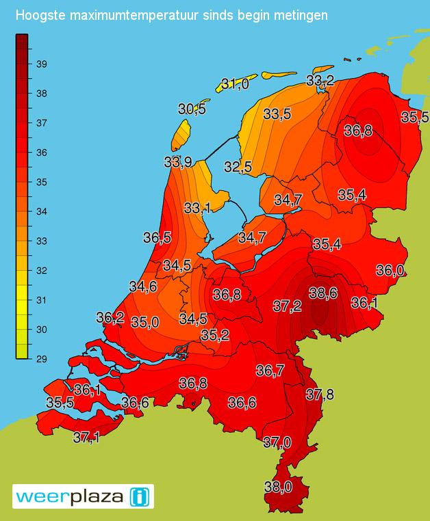 De hoogste temperatuur per KNMI meetpunt, inclusief Warnsveld