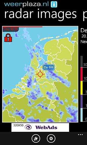De Regenradar zoals hij zichtbaar is in de Weerplaza app voor Windows Phone