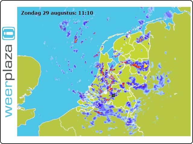Radarplaat van zondag 11:10 uur