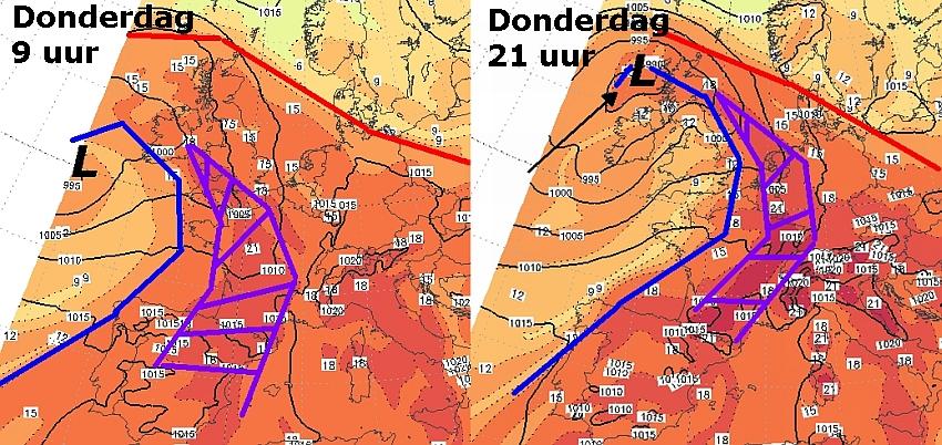 Op het linkerplaatje zien we het lagedrukgebied (L), het koufront (blauwe lijn) en het warmtefront (rode lijn). Het paarse gebied is de Spaanse pluim. Op het rechterplaatje heeft de pluim Nederland bijna bereikt, snel gevolgd door het koufront.