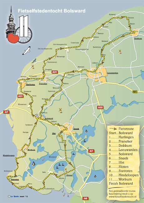 De route van de Friese Fietselfstedentocht.