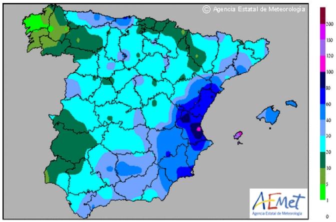 De extreme regenval vandaag in Spanje