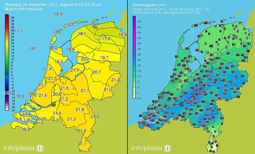24 september: warm, maar ook nat en onstuimig.