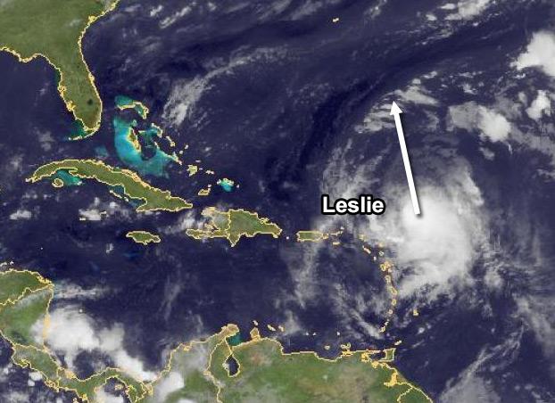 De tropische storm Leslie boven de Atlantische Oceaan.